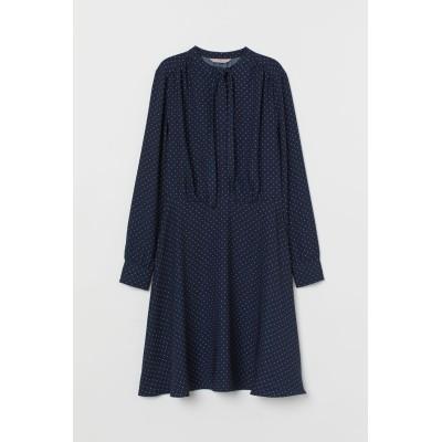 H&M - リボンクレープワンピース - ブルー