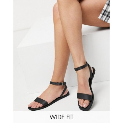 エイソス ASOS DESIGN レディース サンダル・ミュール シューズ・靴 Wide Fit Fia jelly sandals in matte black ブラック