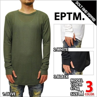 EPTM エピトミ TRAINING THERMAL L/S LONG TEE BLACK WHITE OLIVE サーマル 長袖 指抜き ロングシャツ ロング丈Tシャツ ロング丈 ロンティー ブラック 黒 ホワイ