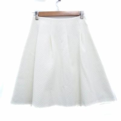 【中古】カーラ Cara スカート フレア ひざ丈 ヘリンボーン柄 67-93 白 ホワイト /FF18 レディース