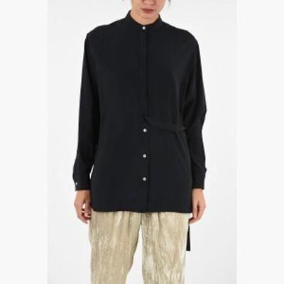 JIL SANDER/ジルサンダー シルクシャツ Black レディース 秋冬2019 Collarless Silk Shirt With Hidden Closure dk