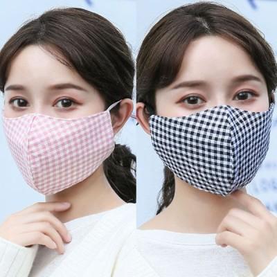 マスク 2枚セット チェック柄 レディース フェイスマスク 洗える 立体マスク 秋冬 フェイスマスク コットン 耳ひも調整 女性用 おしゃれ 冬用