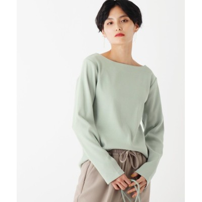 OPAQUE.CLIP / ギザコットンリブ ボートネックカットソー【WEB限定サイズ】 WOMEN トップス > Tシャツ/カットソー