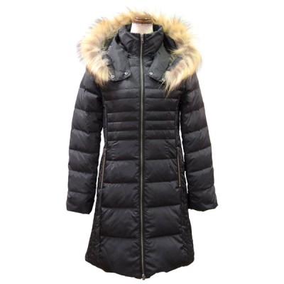 ラクーンファー使い暖かロングダウンコート(ブラック)