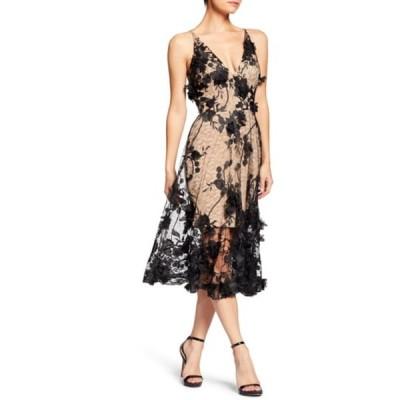 ドレスザポプレーション ワンピース トップス レディース Audrey Embroidered Fit & Flare Dress Black/ Nude