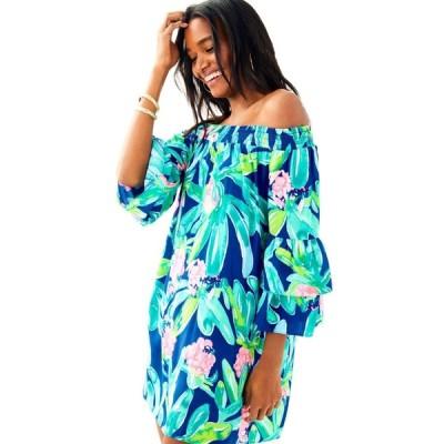 ワンピース リリーピュリッツァー Lilly Pulitzer TOBYN Off the Shoulder Tunic Dress Ikat Blue Island Exotic XS