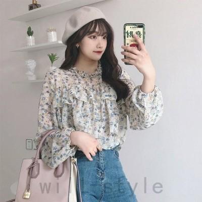 Tシャツレディースブラウスシャツ夏フリルVネック花柄プリーツシフォン大きいサイズ着痩せ韓国風カジュアルおしゃれゆったりきれいめ