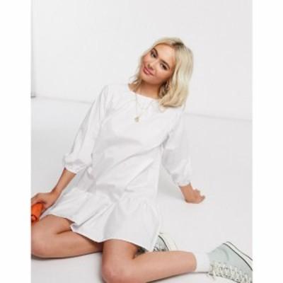 エイソス ASOS DESIGN レディース ワンピース ミニ丈 ワンピース・ドレス cotton poplin mini smock dress with pephem in white ホワイ