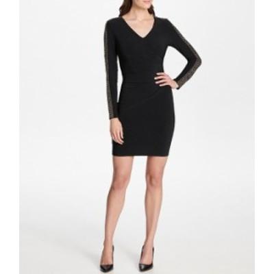 ゲス レディース ワンピース トップス V-Neck Stretch Matte Jersey Embellished Long Sleeve Sheath Dress Black
