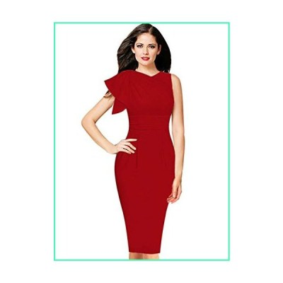VFSHOW Womens Celebrity Elegant Ruffle Ruched Cocktail Party Bodycon Dress 1389 RED XL並行輸入品