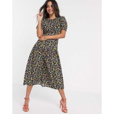 エイソス ASOS DESIGN レディース ワンピース ワンピース・ドレス Midi Tea Dress With Dropped Waist In Floral Print