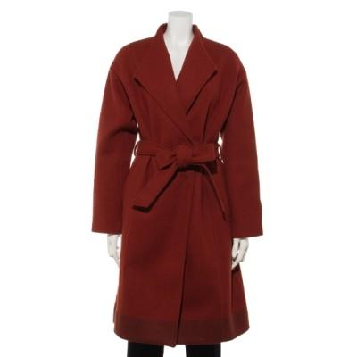 INTERPLANET (インタープラネット) レディース ニットメルトン裾配色スタンドカラーコート レッド M
