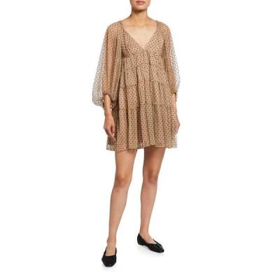 スタウド レディース ワンピース トップス Meadow Polka-Dot Mini Dress