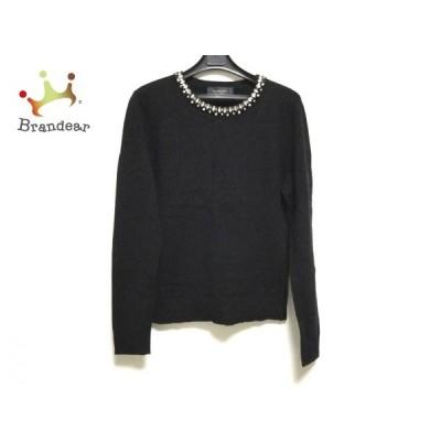 ジャスグリッティー JUSGLITTY 長袖セーター サイズ2 M レディース 美品 黒×クリア ビジュー    値下げ 20201127