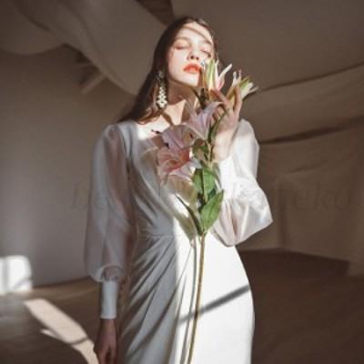 ロングドレス ウエディングドレス 購入 袖あり 白 花嫁 二次会エンパイア 花嫁 フォトウエディング ビーチフォト 前撮り 後撮りワンピー