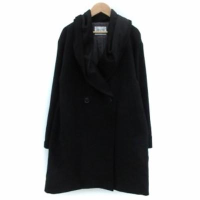 【中古】イーハイフンワールドギャラリー コート ショールカラー ミドル丈 ダブルボタン F ブラック 黒 レディース