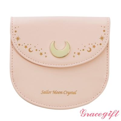 Grace gift-美少女戰士月亮飾釦短夾零錢包 粉