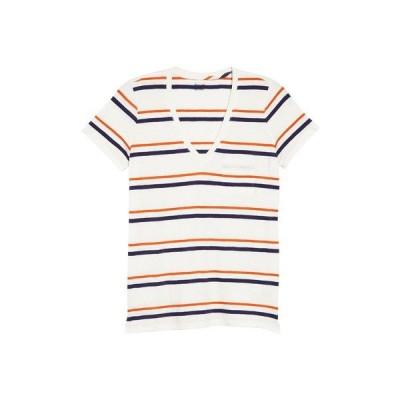 メイドウェル Tシャツ トップス レディース Smithly Stripe Whisper Cotton V-Neck Pocket T-Shirt Mulled Cider Chai Stripe
