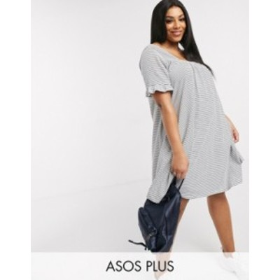 エイソス レディース ワンピース トップス ASOS DESIGN Curve square neck frill sleeve smock dress in navy and cream in stripe Navy