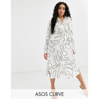 エイソス レディース ワンピース トップス ASOS DESIGN Curve midi belted shirt dress in print Mono print