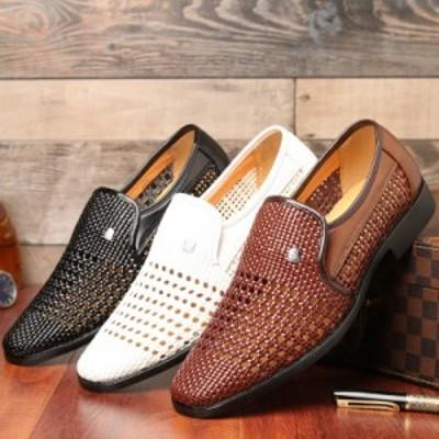 ビジネスシューズ ローファー サンダル メンズ 紳士靴 手作り メッシュ 通気 透かし彫り 夏物 涼しい 柔らかい 通勤  フォーマル おしゃ