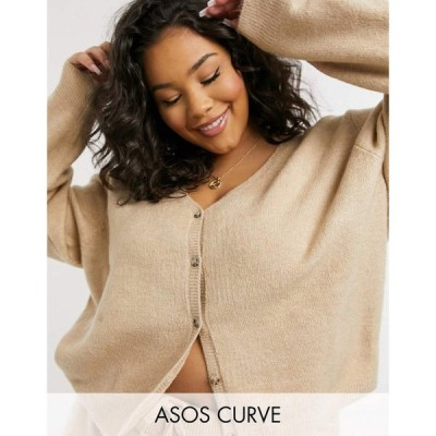 エイソス ASOS Curve レディース カーディガン Vネック トップス Asos Design Curve Co-Ord Cardigan With V Neck In Camel キャメル