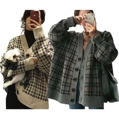 2021新作大きいサイズ 可愛い レディース ビッグ ジャガード編み ニット グレンチェック柄 カーディガン