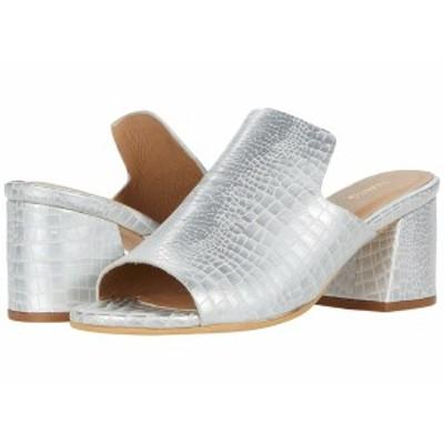 カーナス レディース ヒール シューズ York Croc-Embossed Loafer Heel Silver
