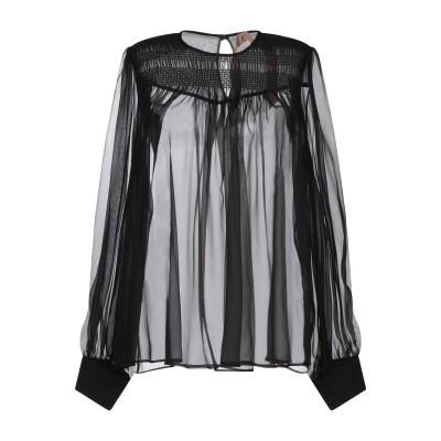ヌメロ ヴェントゥーノ N°21 シャツ ブラック 40 シルク 100% シャツ