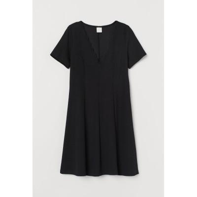 H&M - Vネックワンピース - ブラック