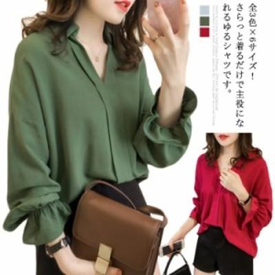 全3色×6サイズ!シャツ スキッパシャツ レディース Vネック スキッパ シャツ 長袖 カジュアルシャツ 大きサイズ ロングスリーブ ブラウ