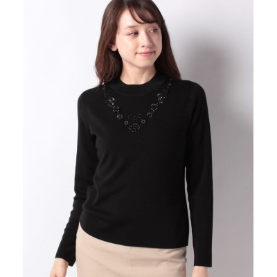 【レリアン】 ネックレス風刺繍入りニット レディース ブラック 11 Leilian
