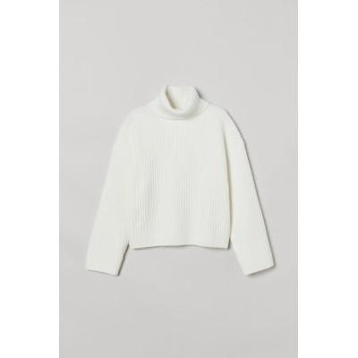 H&M - リブニットタートルネックセーター - ホワイト