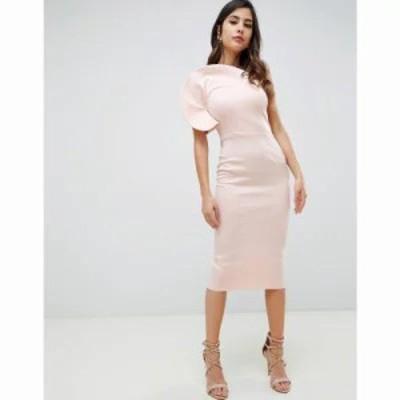 エイソス ボディコンドレス Circle One Shoulder Midi Bodycon Dress Pink
