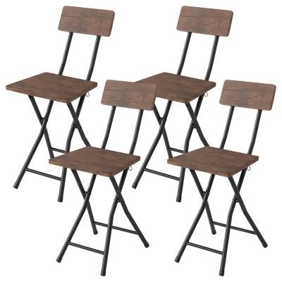 ダイニングチェア 4脚セット 折りたたみ シンプル 木製 スチール 4人掛け(テーブル別売り)