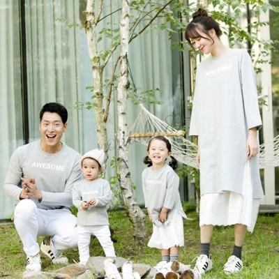韓国版新型 親子は春と秋  長袖親子 Tシャツを着てファッションの丸襟プリント ママ上下セットを家族全員で着ます 家族揃い 秋冬 暖かい