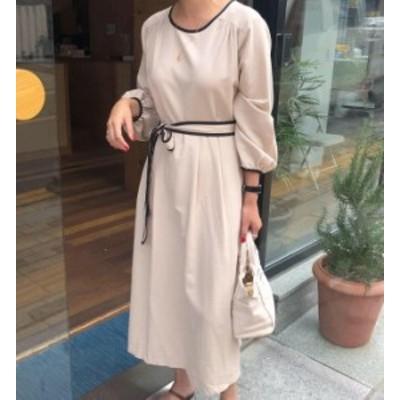 韓国 ファッション レディース ワンピース ロング ハイウエスト ウエストマーク 長袖 ゆったり 無地 シンプル カジュアル 大人可愛い