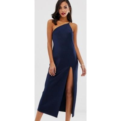 エイソス ASOS DESIGN レディース ワンピース ワンピース・ドレス one shoulder midaxi dress in satin with drape back in navy ネイビー