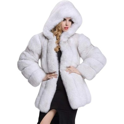 CHARTOU Women's Winter Luxurious Thick Warm Fluffy Faux Fur Hooded Coa