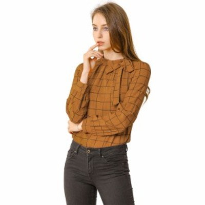 Allegra K チェックシャツ オフィス トップス ブラウス 蝶ネクタイネック レディース ブラウン M