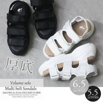 厚底 サンダル レディース 軽量 歩きやすい スポーツサンダル ダッドシューズ le-636 le-644