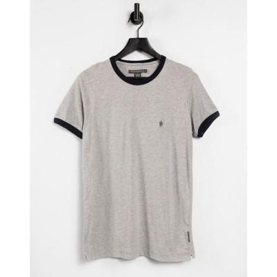 フレンチコネクション French Connection メンズ Tシャツ トップス ringer t-shirt in light grey グレー