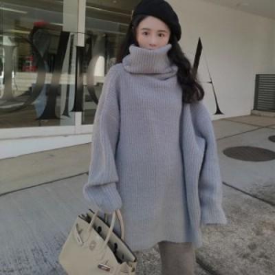 ニット 3色 セーター タートルネック 畦編み あぜ編み ざっくり ざっくりニット 長袖 ドロップショルダー ゆったり オーバーサイズ 大人