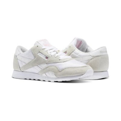 スニーカー リーボック [6394] Womens Reebok Classics CL Nylon Sneaker White Grey