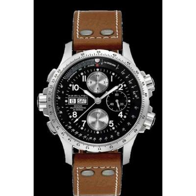 ハミルトン 腕時計 Hamilton Khaki Aviation アビエーション X-Wind Auto Chrono Black Dial LTHR Band メンズ H77616533