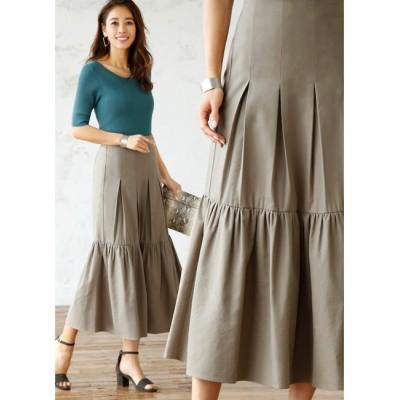 【スタイルデリ/STYLE DELI】 コットン混紡裾フレアロングスカート