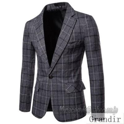 テーラードジャケット メンズ コート 春秋服 チェック柄 カジュアル ブレザー 紳士服 アウター 1つボタン 細身 スリム