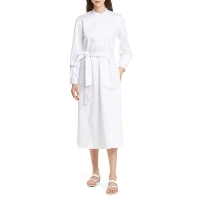 クラブ モナコ レディース ワンピース トップス Half Placket Long Sleeve Midi Dress WHITE