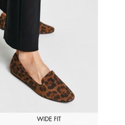エイソス レディース ブーツ・レインブーツ シューズ ASOS DESIGN Wide Fit Lakeside slipper ballet flats in leopard Leopard