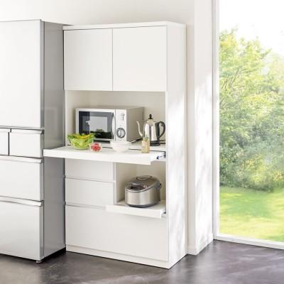 作業カウンター付きコンパクト食器棚 ハイタイプ 幅89cm 727729